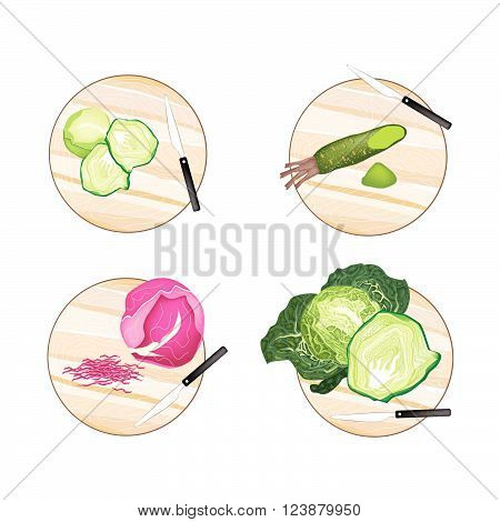 Vegetable Brussels Sprout Savoy Cabbage Purple Cabbage and Wasabi on Wooden Cutting Boards.
