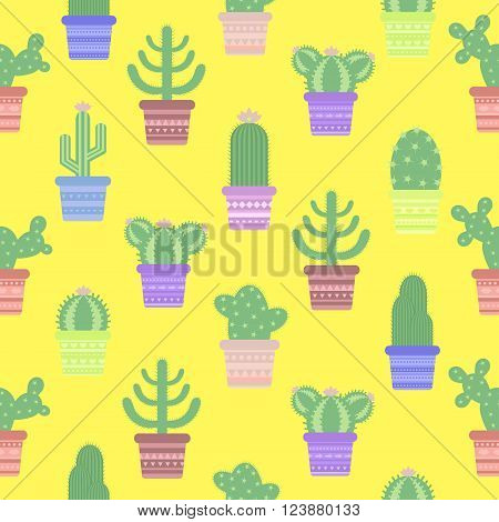 Seamless pattern with cacti in a pot. Icon of cactus flower. Desert plant. Vector illustration of a colored cartoon cactus.