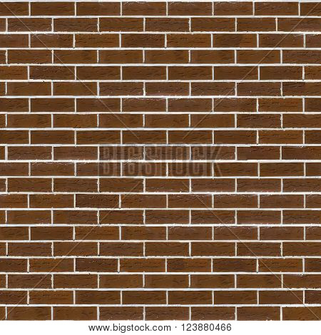 Decorative Rough Brown Brick Wall with White Seam. Seamless Tileable Texture.