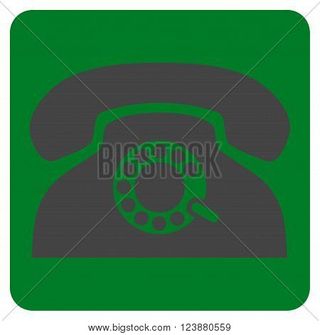 Pulse Phone vector symbol. Image style is bicolor flat pulse phone icon symbol drawn on a rounded square with green and gray colors.