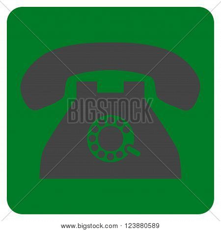 Pulse Phone vector pictogram. Image style is bicolor flat pulse phone pictogram symbol drawn on a rounded square with green and gray colors.
