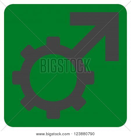 Technological Potence vector symbol. Image style is bicolor flat technological potence iconic symbol drawn on a rounded square with green and gray colors.