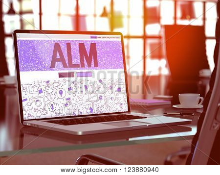ALM - Application Lifecycle Management - Concept - Closeup on Landing Page of Laptop Screen in Modern Office Workplace. Toned Image with Selective Focus. 3D Render.