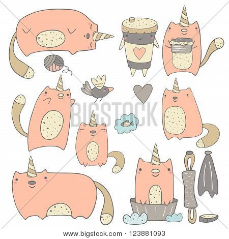 Cute hand drawn fairy tale catcorn collection including sleeping cat cat with candy and coffee hunting cat cat with heart cat dreaming about fish cat in bath. Catcorn icons collection
