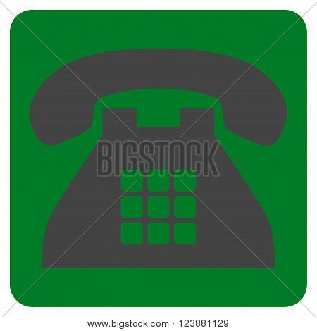 Tone Phone vector icon symbol. Image style is bicolor flat tone phone iconic symbol drawn on a rounded square with green and gray colors.