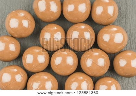 Chocolate Balls On A Black Background