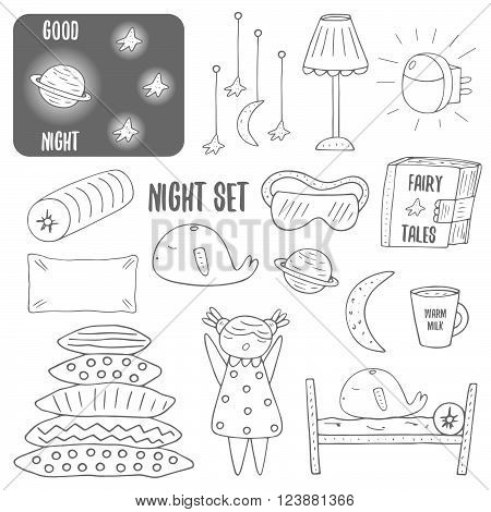 Cute hand drawn doodle night sleep theme objects collection including lamp pillow bed cup of milk moon saturn stars sleepy girl whale night sky book with fairy tales night blindfold