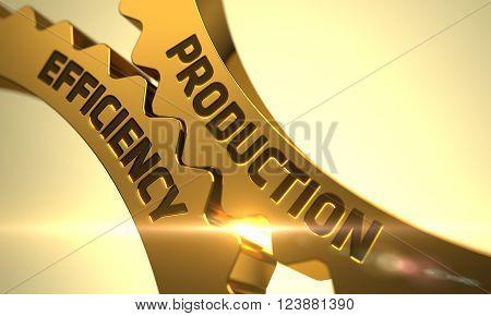 Production Efficiency on Mechanism of Golden Metallic Cog Gears with Glow Effect. Production Efficiency - Technical Design. Production Efficiency on the Golden Gears. 3D Render.