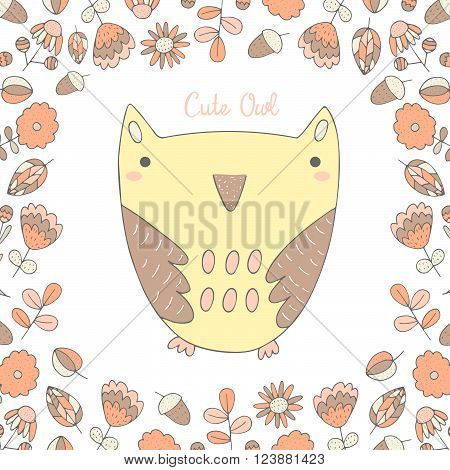 Cute hand drawn doodle owl surrounded with flower frame. Background postcard cover with owl