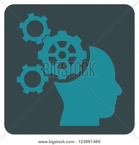 Brain Mechanics vector symbol. Image style is bicolor flat brain mechanics icon symbol drawn on a rounded square with soft blue colors.