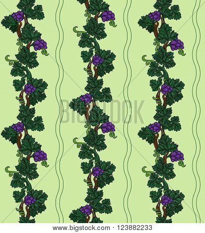 Grapevine seamless pattern purple grapes with green leaves on light green background