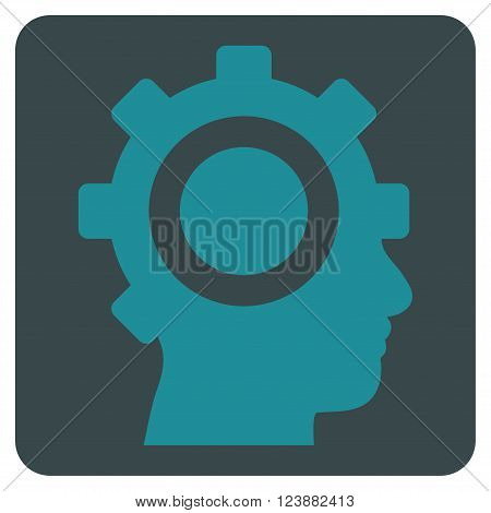 Cyborg Gear vector symbol. Image style is bicolor flat cyborg gear iconic symbol drawn on a rounded square with soft blue colors.