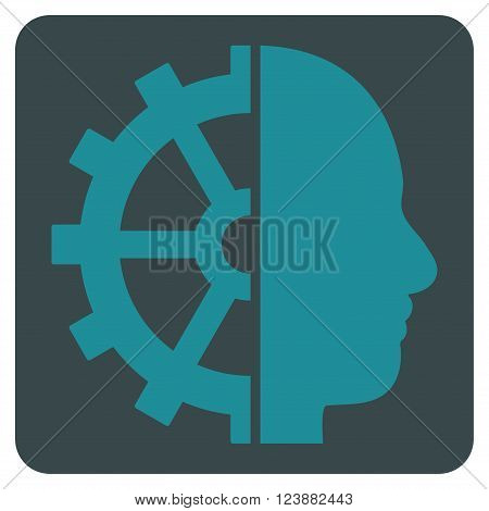 Cyborg Gear vector symbol. Image style is bicolor flat cyborg gear pictogram symbol drawn on a rounded square with soft blue colors.