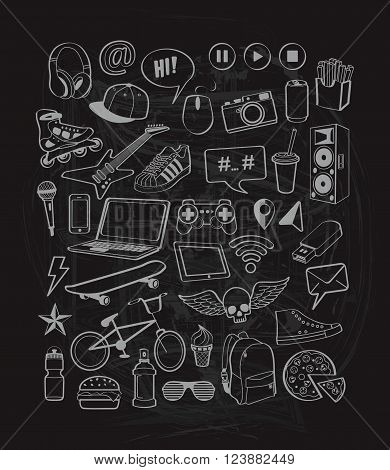 Doodles set for teenagers on chalkboard background.  Doodles elements icons for design thinking ideas with cool, sports, music, multimedia, delicious, shoes, tinagers style. Vector illustration