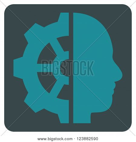 Cyborg Gear vector icon symbol. Image style is bicolor flat cyborg gear iconic symbol drawn on a rounded square with soft blue colors.