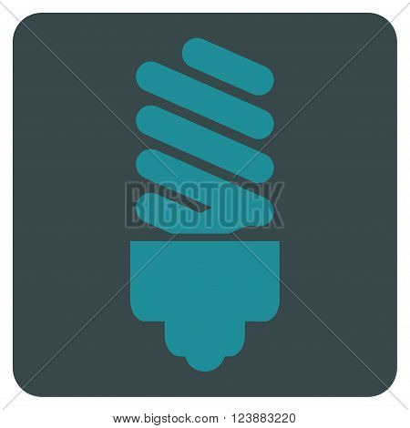 Fluorescent Bulb vector icon symbol. Image style is bicolor flat fluorescent bulb icon symbol drawn on a rounded square with soft blue colors.