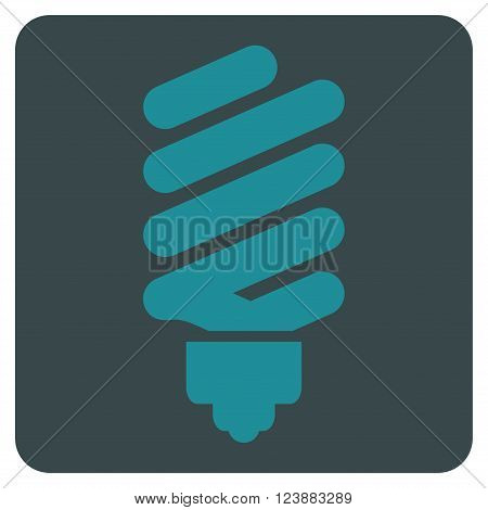 Fluorescent Bulb vector pictogram. Image style is bicolor flat fluorescent bulb icon symbol drawn on a rounded square with soft blue colors.