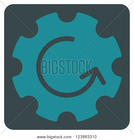 Gear Rotation vector icon. Image style is bicolor flat gear rotation pictogram symbol drawn on a rounded square with soft blue colors.