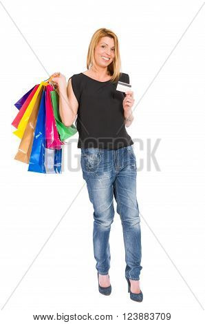 Shopping Woman With Credit Card Standing
