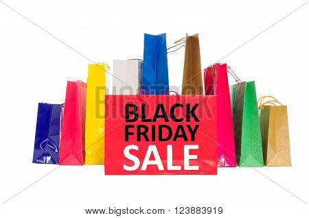 Black Friday Sale concept using shopping bags isolated on white background