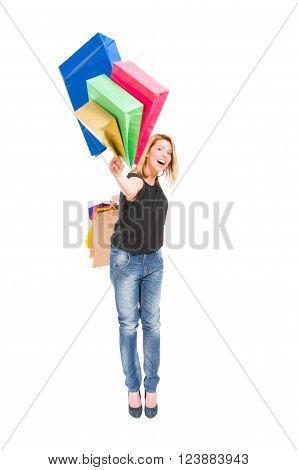 Happy Shopping Woman Throw Shopping Bags