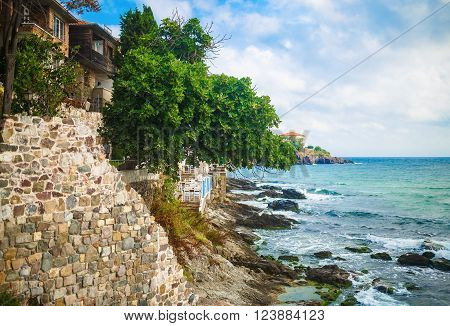 Old town Sozopol at Black Sea. Picturesque sea landscape. Coastline in the old town of Sozopol at Black Sea Bulgaria. Old fortress wall. Architectural and Historic Complex.