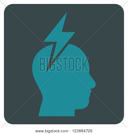 Headache vector icon. Image style is bicolor flat headache pictogram symbol drawn on a rounded square with soft blue colors.