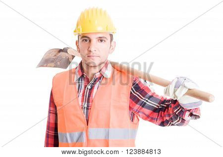 Construction Worker Carrying A Shovel On Shoulder