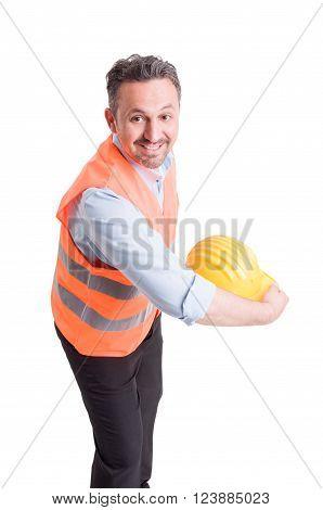 Engineer Throwing His Yellow Helmet