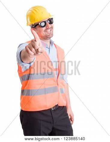 Successful contractor engineer or architect making refuse or no gesture