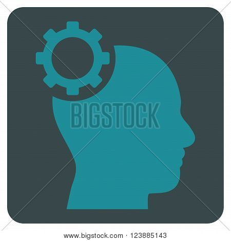 Intellect Gear vector pictogram. Image style is bicolor flat intellect gear pictogram symbol drawn on a rounded square with soft blue colors.