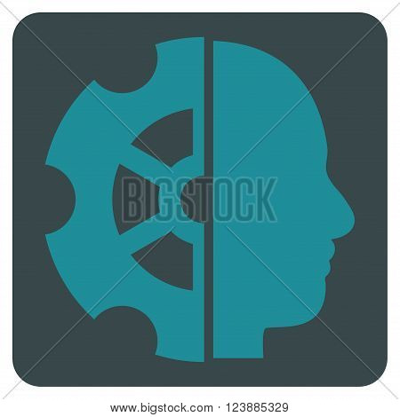 Intellect vector icon symbol. Image style is bicolor flat intellect iconic symbol drawn on a rounded square with soft blue colors.