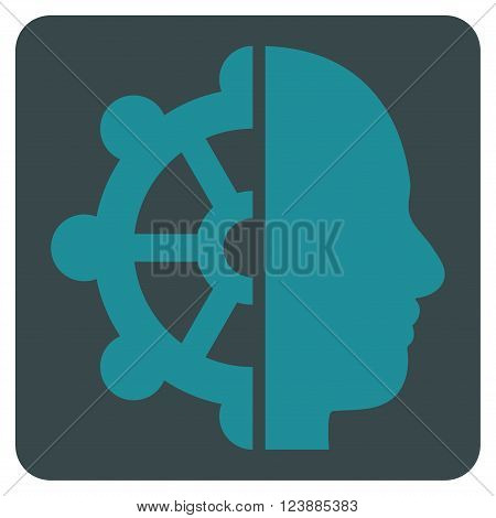 Intellect vector pictogram. Image style is bicolor flat intellect icon symbol drawn on a rounded square with soft blue colors.