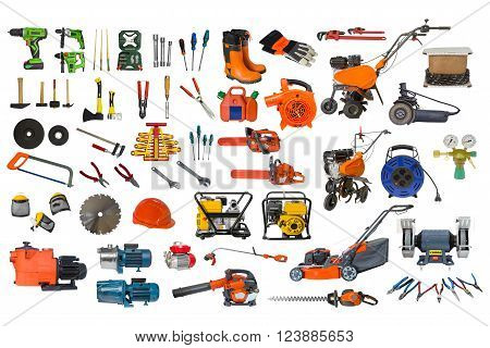 set of building and garden tools isolated on white background