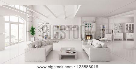 White Apartment Interior 3D Render