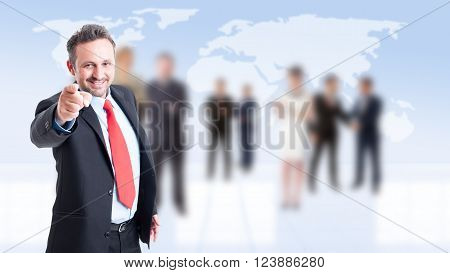 Employeer selecting new employee with business people background