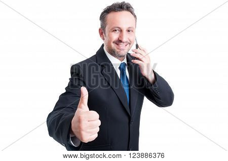 Busy And Confident Business Man Showing Thumb Up