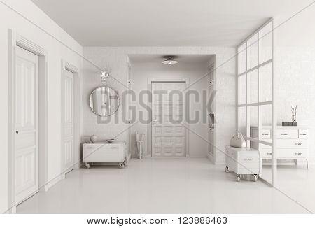 White Hall Interior 3D Render