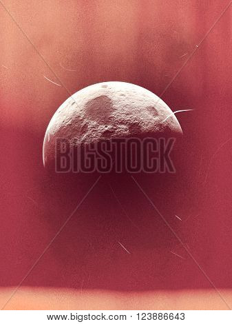 half moon view retro style photo effect, moon  on sky horizon,  retro camera moon shot