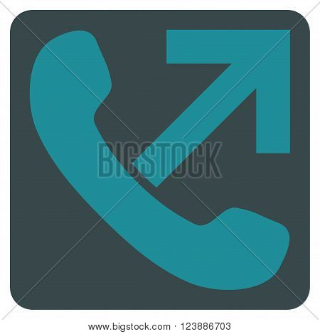 Outgoing Call vector symbol. Image style is bicolor flat outgoing call icon symbol drawn on a rounded square with soft blue colors.