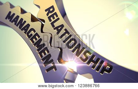 Relationship Management Golden Gears. Relationship Management on Mechanism of Golden Cogwheels. Relationship Management - Concept. Relationship Management - Illustration with Lens Flare. 3D.