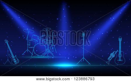 Rock Band musical linear Instruments with microphone on empty performance stage under the light of spotlight before the show. podium in the neon light. Concept, vector art image illustration