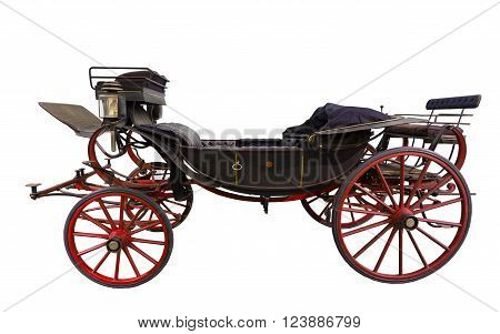 Black historic opened carriage isolated on white