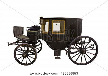 Samrt black historic carriage isolated on white