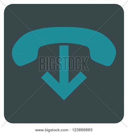 Phone Hang Up vector pictogram. Image style is bicolor flat phone hang up pictogram symbol drawn on a rounded square with soft blue colors.