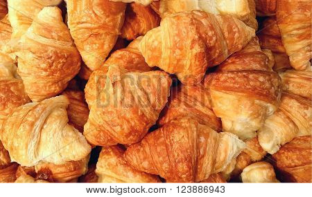 Clos up of Mini croissant bread on buffet line