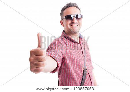 Man Wearing Short Sleeve Shirt And Shades