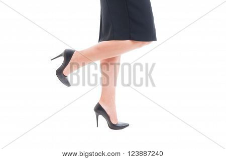Business Woman Legs With High Heels Black Leather Shoes