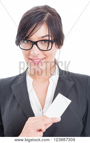 Manager Woman Holding A Blank Business Card
