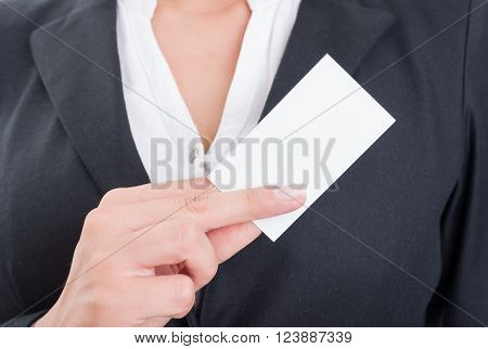 Anonymous Business Woman Holding A Blank Business Card